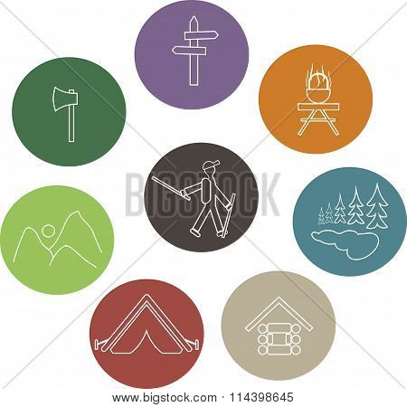 Set recreation, sports round icons. Beige contours of tourist, pot, axe, lake, trees, mountain shelt