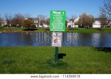 Wesmere Country Club's Private Lake Sign