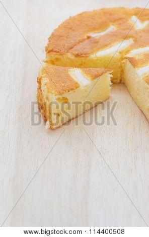Chiffon Cake On Wood  Board