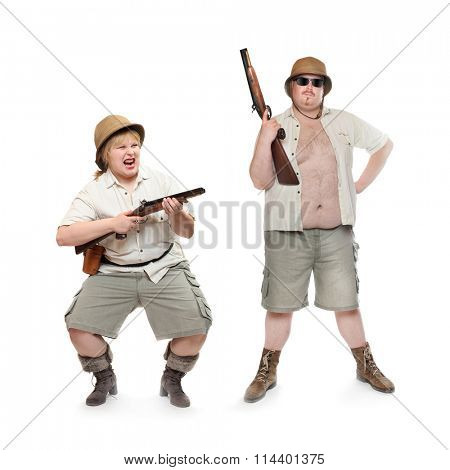 Couple of safari hunters or home guard with weapons. People isolated on white background. Gun control and home defense concept.