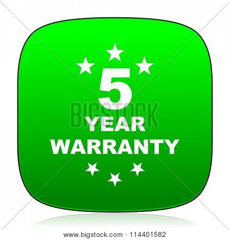 warranty guarantee 5 year green icon for web and mobile app