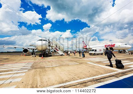 Passengers Boarding Tam Airlines Airplane In Foz Do Iguacu, Brazil