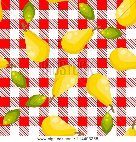 Tartan plaid with pears seamless pattern.