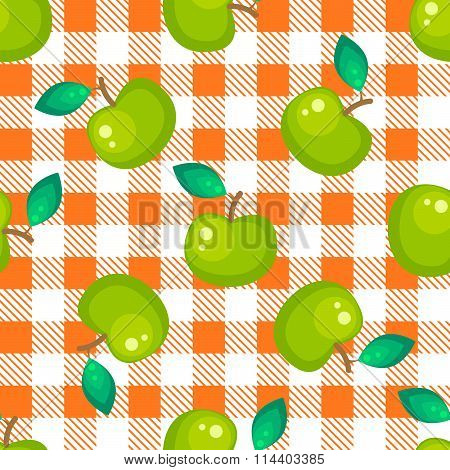Tartan plaid and green apple seamless pattern.
