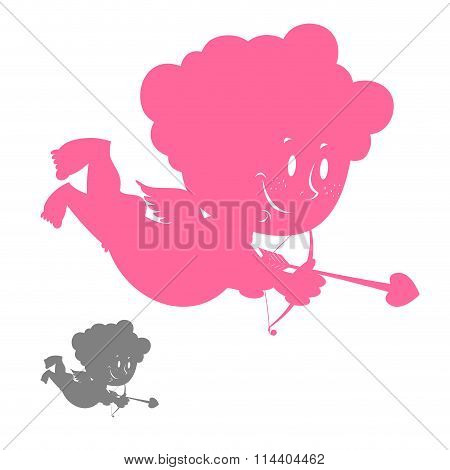 Cupid Silhouette. Pink Angel With A Smile. Hilarious Cute Cupid. Character For Valentine's Day.