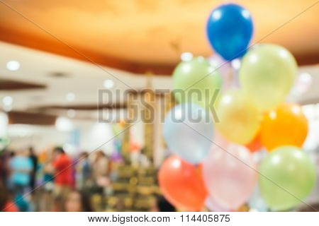 Blurred Background : Party Decoration With Balloon, Entertainment Lifestyle Concept.