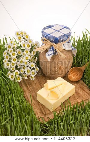 Butter, Camomiles And Milk Pot