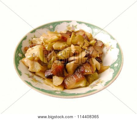 Chinese bacon stir fry pickled mustard tuber