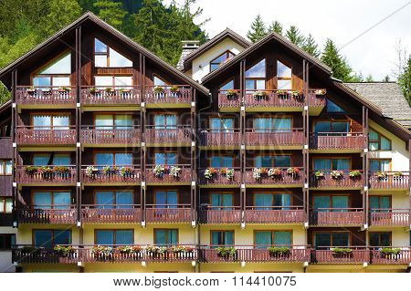 Traditional European Alpine Ski Chalet Hotel, Front View