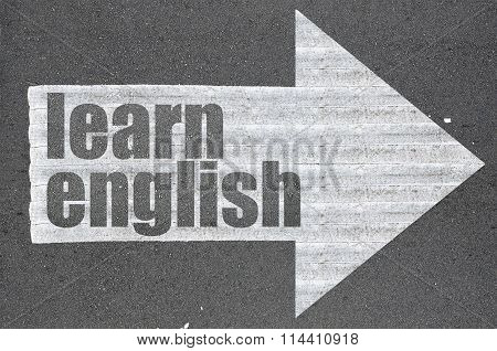 Arrow On Asphalt Road Written Word Learn English