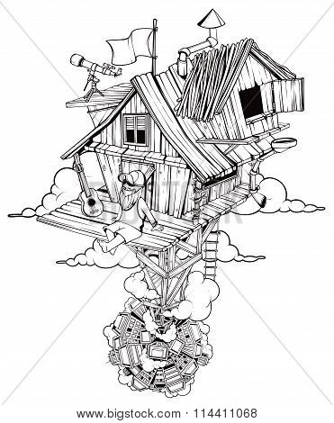 Pleased man sits in his secluded house. High above the city. Black and white