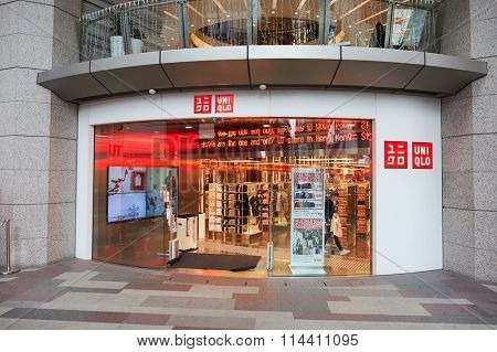 HONG KONG - DECEMBER 25, 2015: entrance to Uniqlo store. Uniqlo Co., Ltd. is a Japanese casual wear designer, manufacturer and retailer.