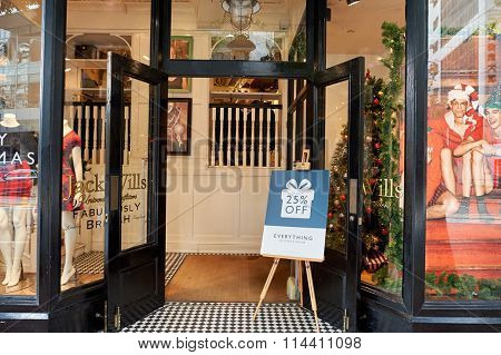 HONG KONG - DECEMBER 25, 2015: Jack Wills storefront. Jack Wills is a British clothing brand headquartered in London after establishing itself in Salcombe, Devon.