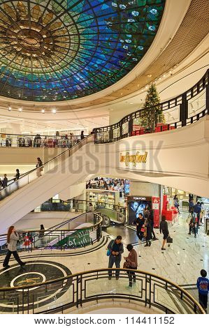HONG KONG - DECEMBER 25, 2015:  interior of Lane Crawford store. Lane Crawford is a retail company with specialty stores selling designer label luxury goods in Hong Kong and Greater China