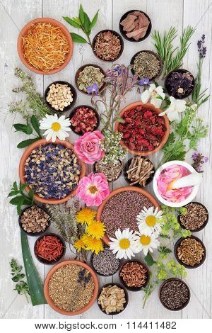 Naturopathic flower and herb selection used in alternative herbal medicine on over distressed wooden background.