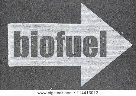 Arrow On Asphalt Road Written Word Biofuel