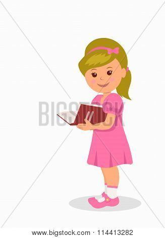 Cute little girl in a pink dress reading a book. Isolated character child standing with a book