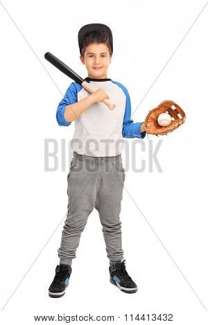 Full length portrait of a cute boy holding a baseball bat and a baseball isolated on white background