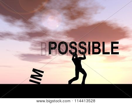 Concept conceptual 3D human man or businessman, black silhouette lifting an impossible or possible text at sunset