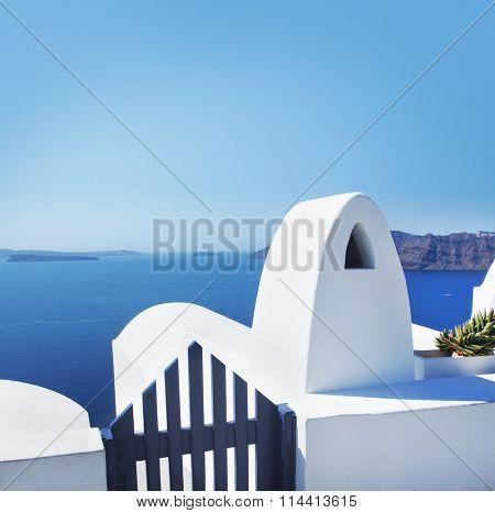 View of azure Mediterranean sea from balcony on Santorini island.