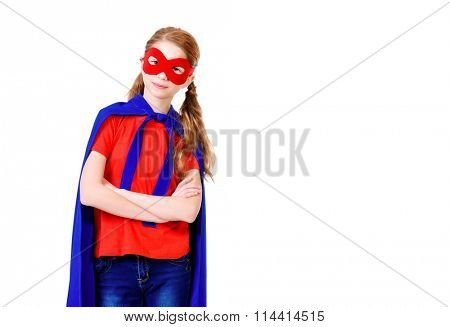 Cute girl teenager in a costume of superhero. Isolated over white background.