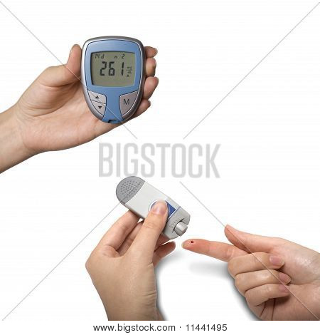 Testing Blood Sugar with Diabetic Glocumeter