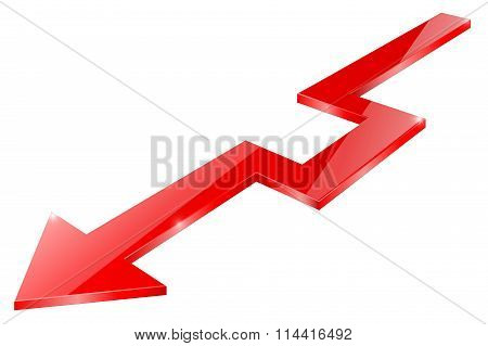 Red  Arrow. Down Indication Arrows, Statistic Financial Graphic. Glass Shiny Sign.