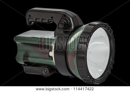 Electric Torch, Isolated On Black Background, With Clipping Path
