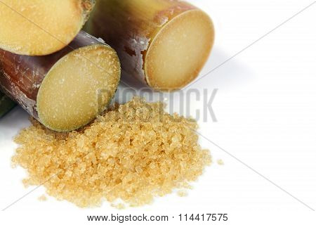 Brown sugar and Sugarcane .