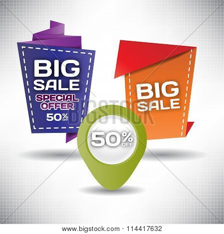 Set vector tag Big Sale paper banner special offer origami