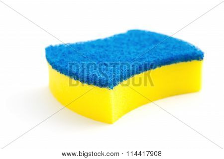New Double-side Cleaning Sponge On A White Background