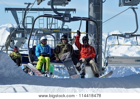 Skiers In Ski Lift