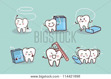 Cartoon Tooth With Dental Floss