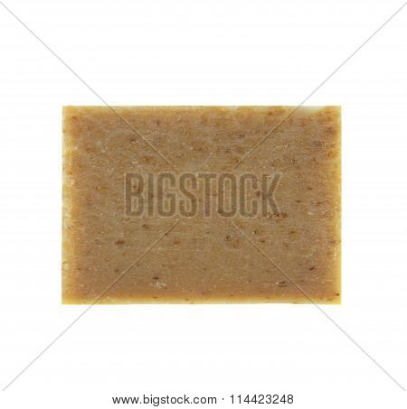 Bars Of Natural Soap With Dried Herbs Isolated On White Background