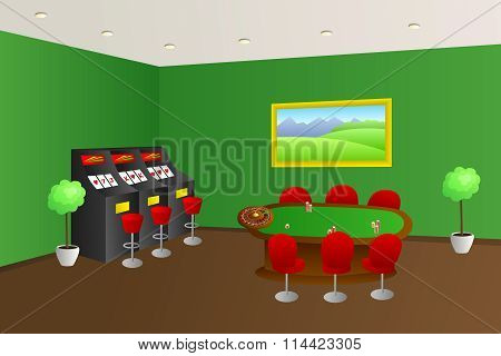 Casino interior green game table red seats slot machine illustration vector