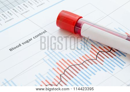 Sample Blood For Screening Diabetic Test In Blood Tube.