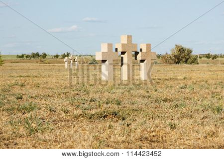 Cress On The German Cemetery Of Rossoshk. Volgograd, Russia