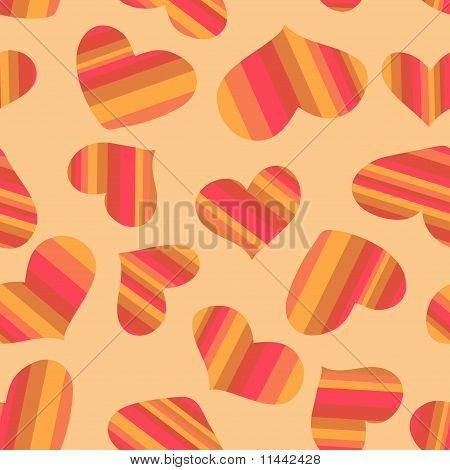 Seamless pattern striped hearts.