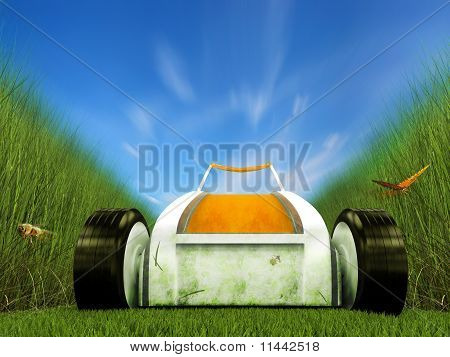 Fast Moving Lawn Mower On Grass Track