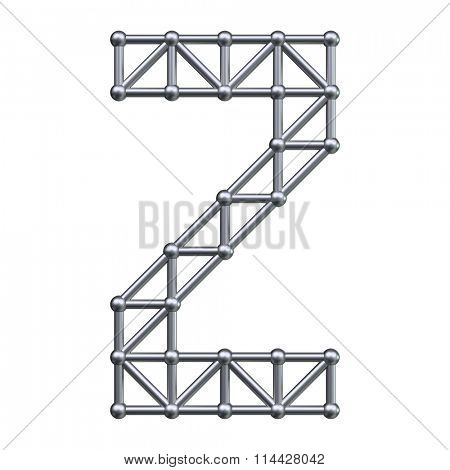 Metal structure alphabet letter Z. 3D render.