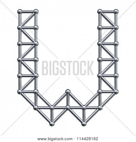 Metal structure alphabet letter W. 3D render.