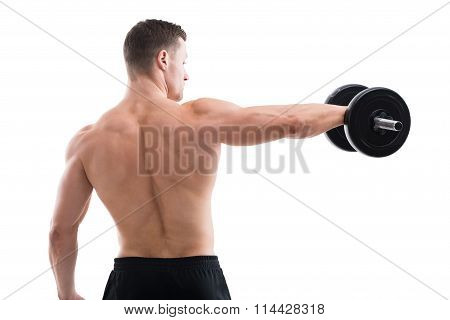 Rear View Of Strong Man Lifting Dumbbell