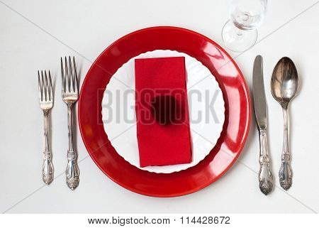Serving Holiday Table, Spoon, Fork, Knife, White Plates