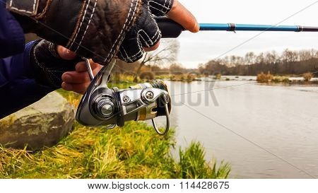 Fishing. Nature. Spinning on the river. Sport fishing.