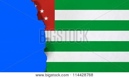 Flag of Abkhazia painted on paper texture