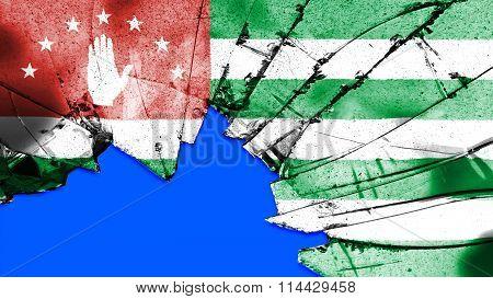Flag of Abkhazia painted on broken glass