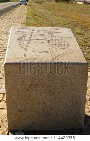 Granite Stele With An Inscription On A Military And Memorial Cemetery, Rossoshk's Museum. Volgograd,
