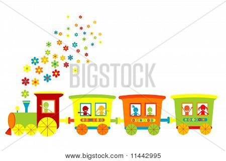 Toy Train With Happy Kids