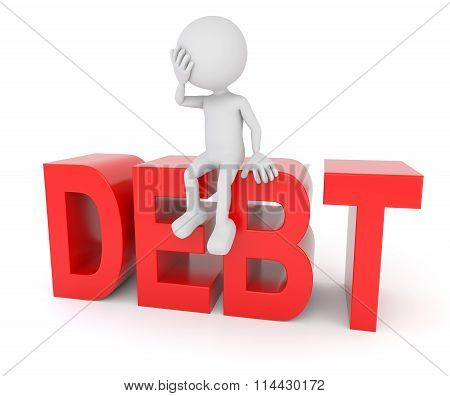 White 3D Human Sitting On Debt Text