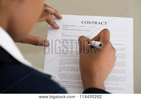 Businesswoman Filling Contract Form